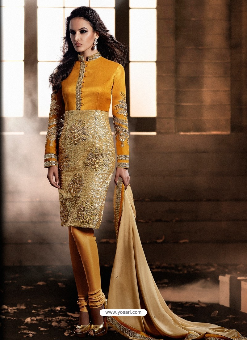 Yellow And Golden color Bhagalpuri Silk Churidar Suit