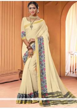 Dazzling Cotton Cream Lace Work Classic Saree