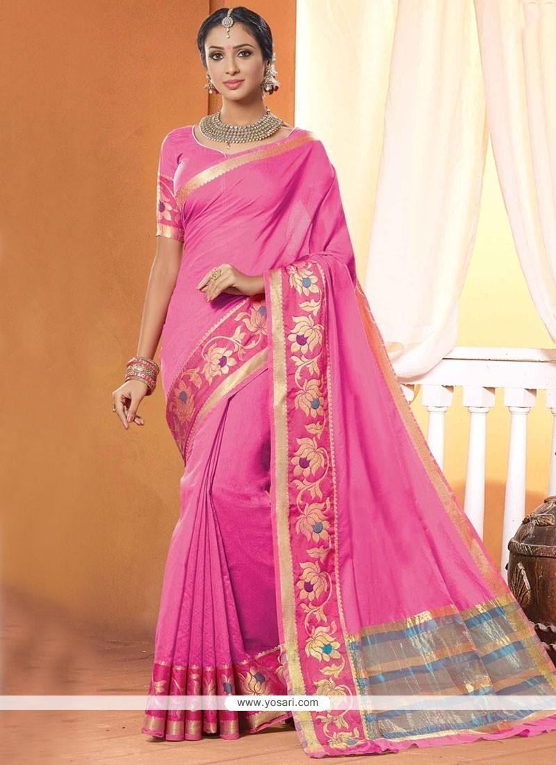 Stunning Pink Digital Print Work Cotton Classic Designer Saree