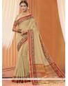 Modernistic Cotton Beige Designer Saree