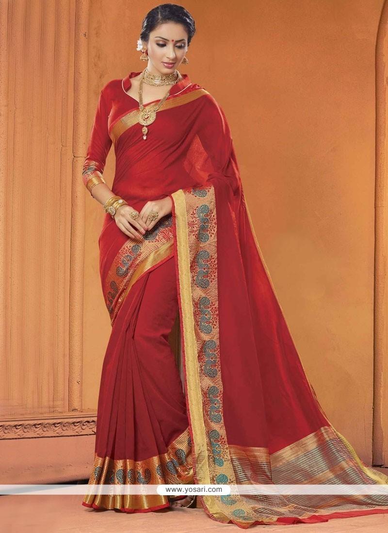 Maroon Digital Print Work Cotton Classic Saree