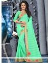 Exquisite Faux Chiffon Sea Green Designer Saree