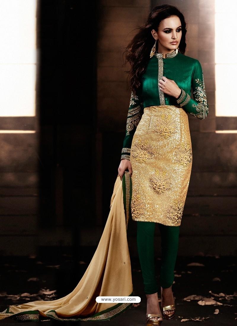 Green And Golden color Bhagalpuri Silk Churidar Suit