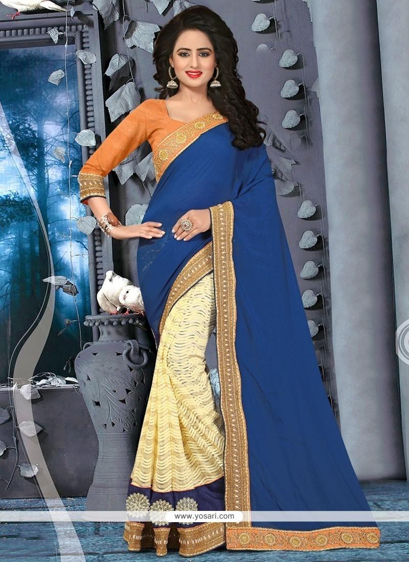 Glossy Fancy Fabric Beige And Navy Blue Half N Half Saree