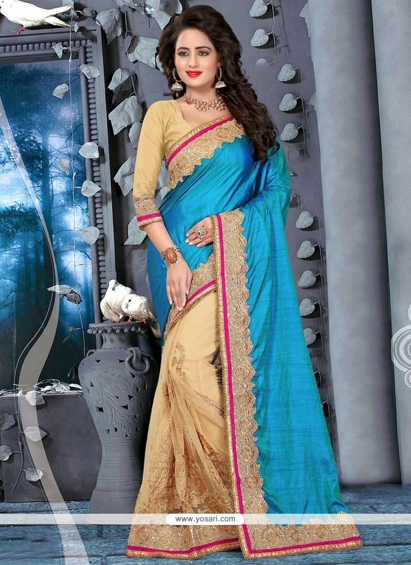 Glorious Embroidered Work Art Silk Half N Half Designer Saree