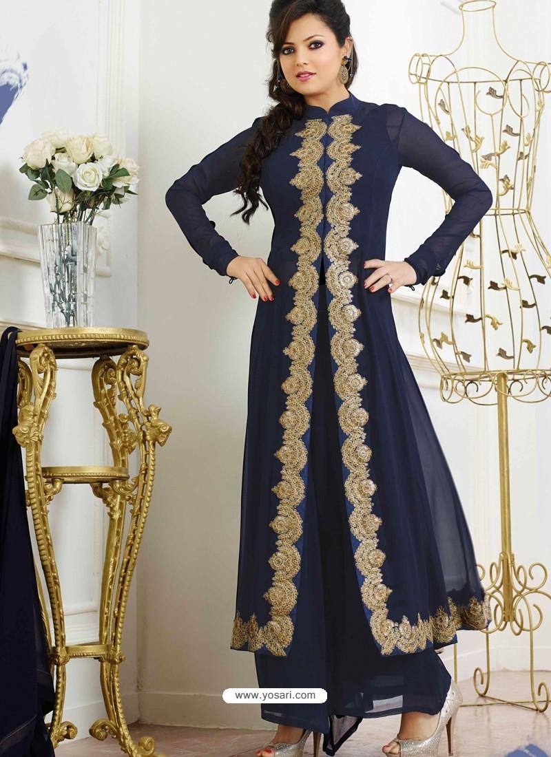 Ihram Kids For Sale Dubai: Navy Blue Georgette Pakistani Suits