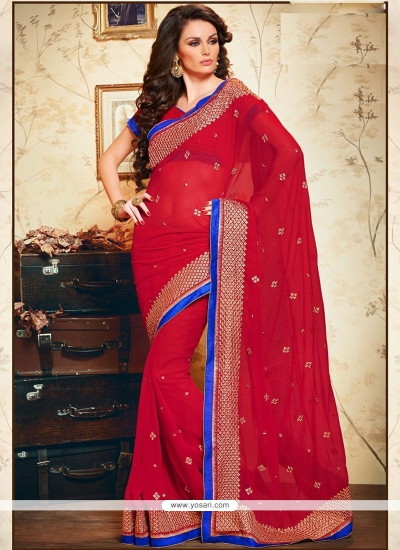 Arresting Embroidered Work Faux Chiffon Classic Saree