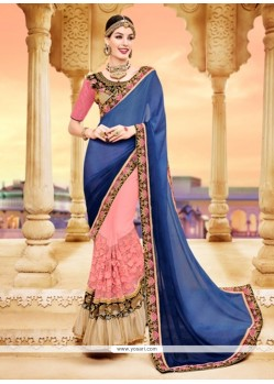Incredible Blue And Pink Saree