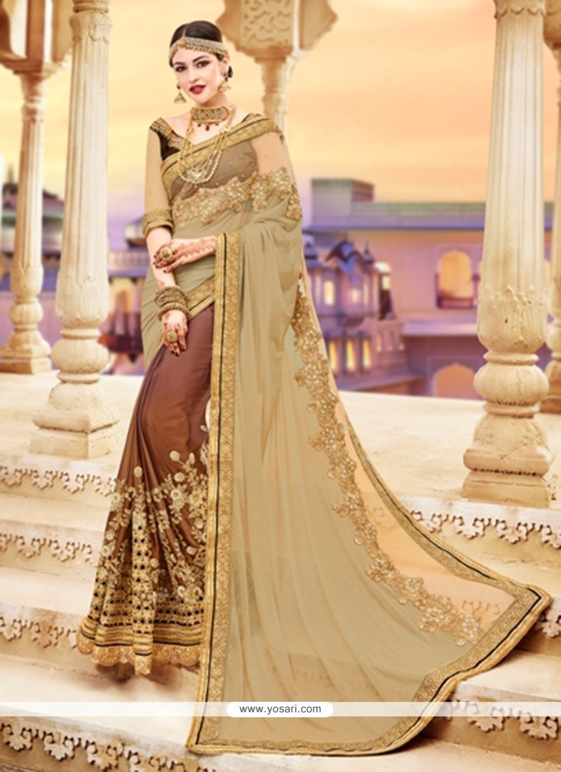 Flamboyant Embroidered Work Faux Georgette Classic Designer Saree
