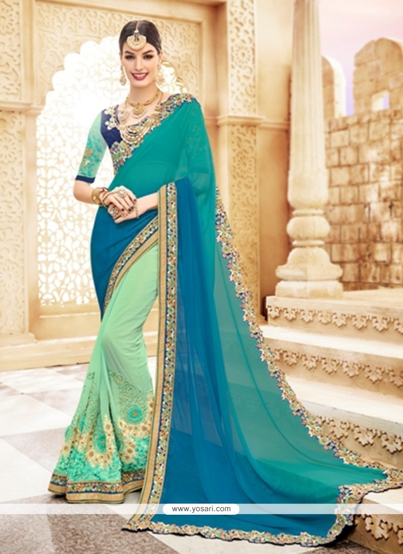 Sorcerous Faux Georgette Embroidered Work Shaded Saree