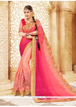 Regal Faux Georgette Patch Border Work Shaded Saree