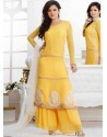 Yellow Georgette Pakistani Suits