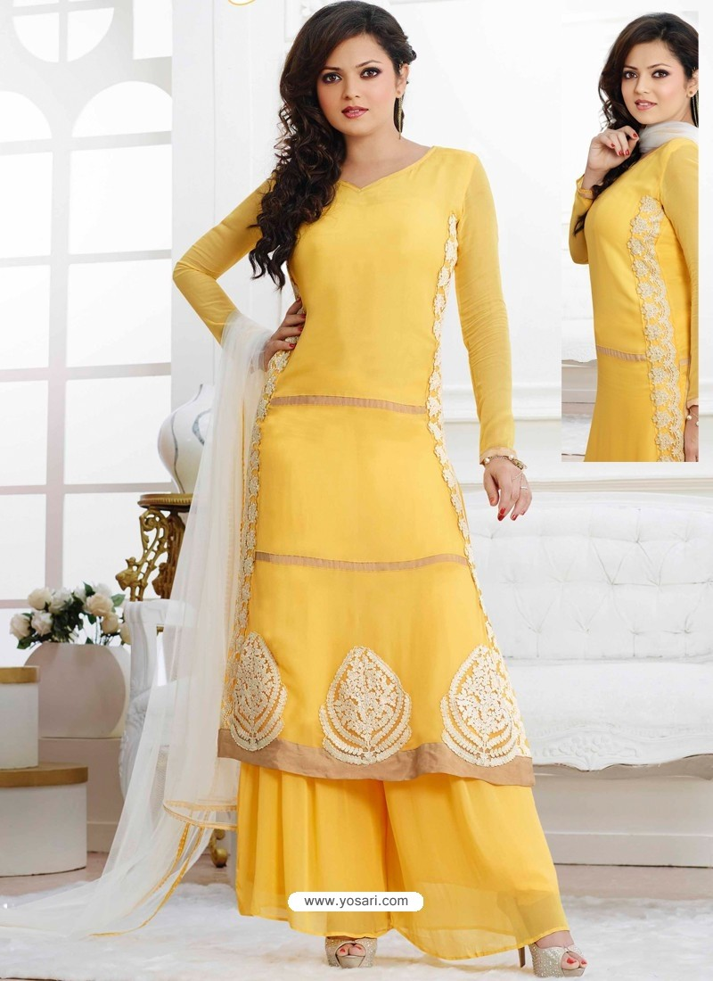 cc373b8bd7 Yellow Georgette Pakistani Suits | Pakistani Suits online