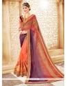 Divine Orange And Purple Resham Work Faux Georgette Shaded Saree