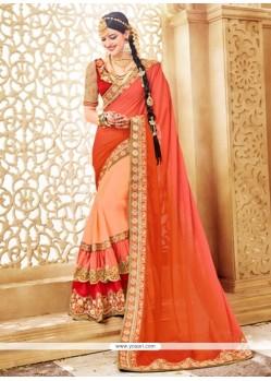 Glorious Beige And Orange Resham Work Faux Georgette Classic Designer Saree