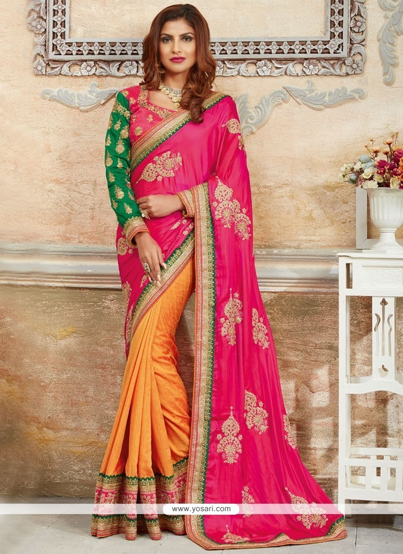 Patch Border Art Silk Designer Traditional Saree In Hot Pink And Off White