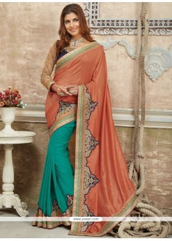 Vivacious Peach And Sea Green Patch Border Work Art Silk Traditional Saree
