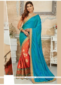Tempting Embroidered Work Traditional Designer Saree