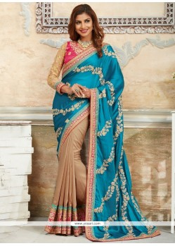 Savory Beige And Blue Designer Traditional Saree