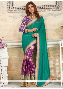 Pleasance Green And Purple Patch Border Work Traditional Designer Saree