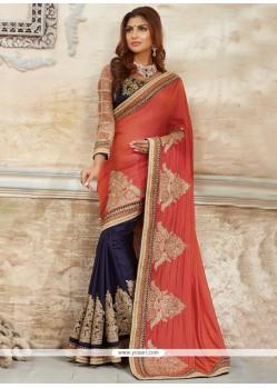 Fascinating Navy Blue Traditional Designer Saree
