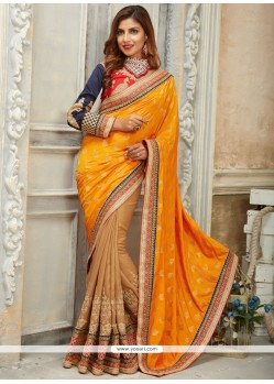 Voguish Embroidered Work Yellow Traditional Saree