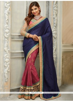 Hypnotic Blue And Pink Designer Traditional Saree