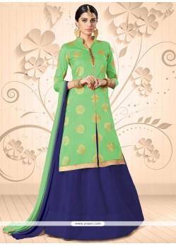 Flawless Green Lace Work Long Choli Lehenga