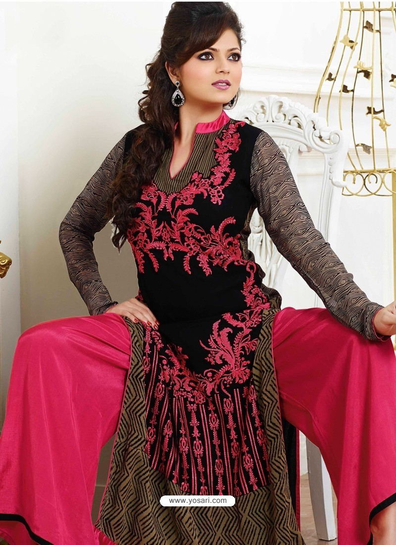 Pink and Black Georgette Pakistani Suits