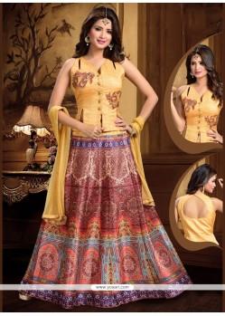 Beauteous Resham Work Multi Colour Art Silk Lehenga Choli