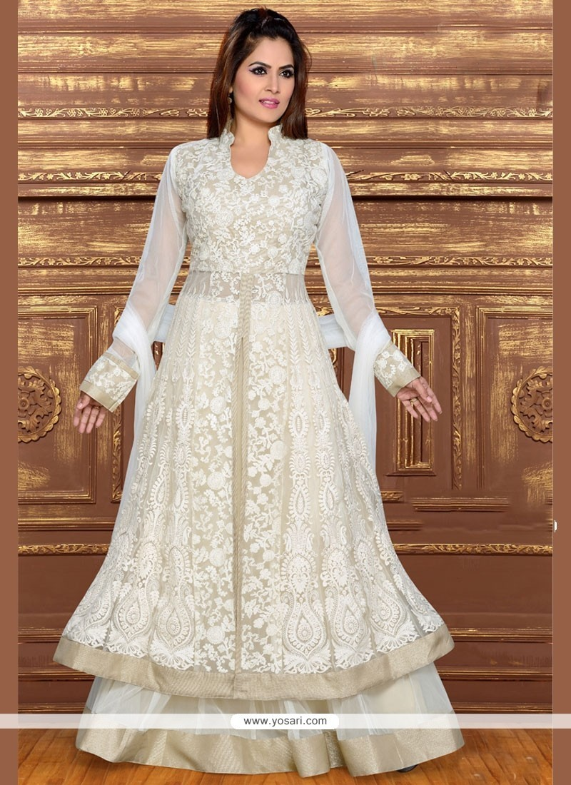Charming Net White Long Choli Lehenga
