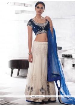 Magnificent Blue And White Beads Work Lehenga Choli