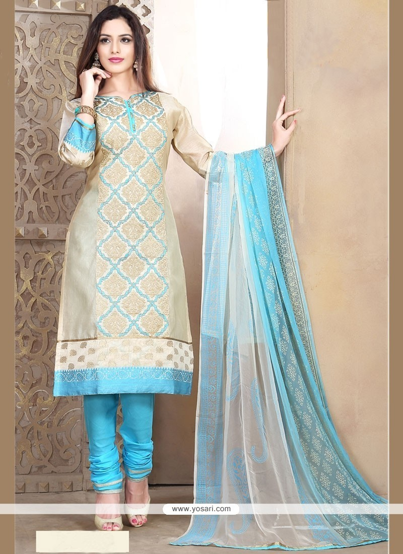 Catchy Beige And Blue Lace Work Churidar Designer Suit