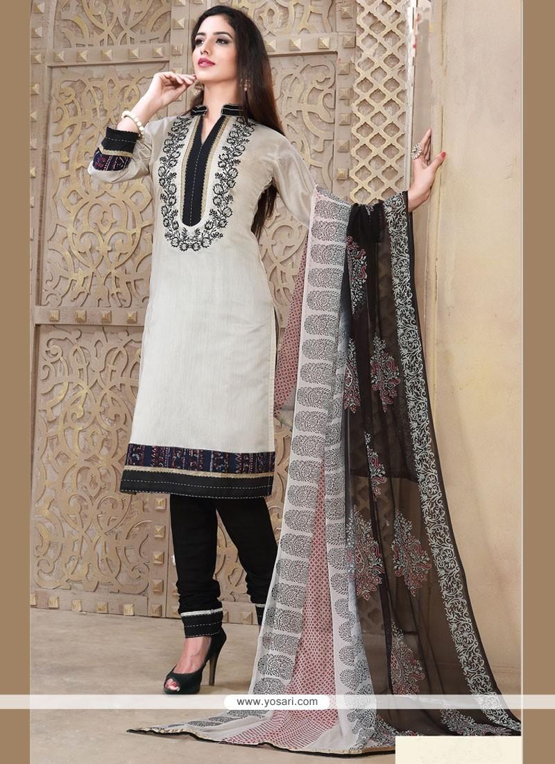 Prepossessing Embroidered Work Churidar Designer Suit