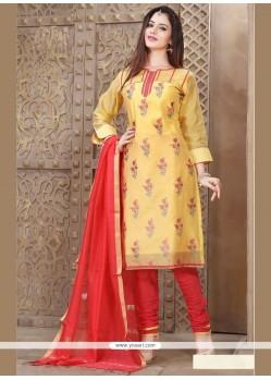 Sonorous Lace Work Chanderi Churidar Designer Suit