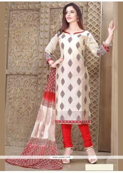 Intricate Beige Resham Work Chanderi Churidar Designer Suit