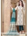 Lovable Embroidered Work Beige And Teal Chanderi Churidar Designer Suit