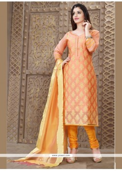 Girlish Chanderi Resham Work Churidar Designer Suit