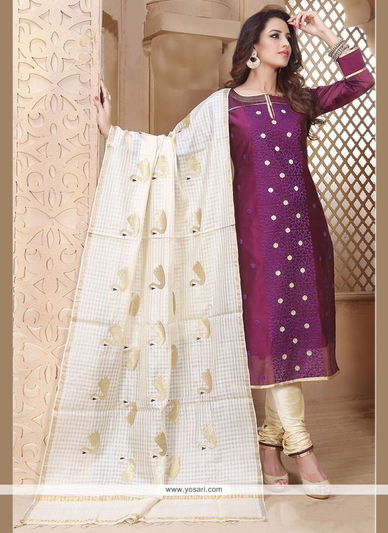 Fetching Purple Chanderi Churidar Designer Suit