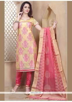 Celestial Chanderi Rose Pink And Yellow Resham Work Churidar Designer Suit