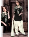 Tempting Embroidered Work Cotton Black And White Patiala Suit