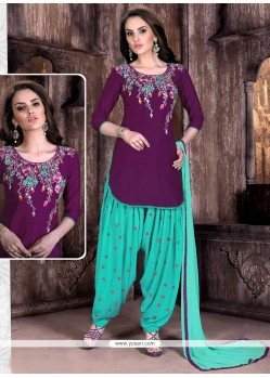 Purple And Turquoise Cotton Patiala Suit