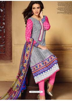 Multicolor Chiffon Satin Churidar Suit