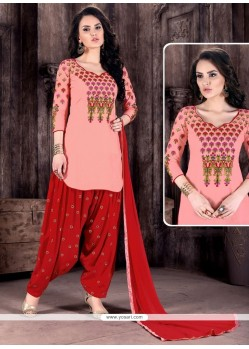 Pink And Red Cotton Patiala Suit