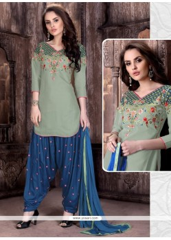 Stupendous Cotton Embroidered Work Patiala Suit