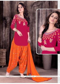 Latest Embroidered Work Magenta And Orange Patiala Suit