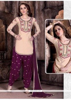 Staggering Embroidered Work Peach And Wine Cotton Patiala Suit