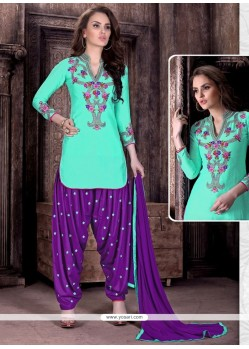 Aristocratic Embroidered Work Cotton Patiala Suit