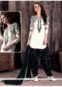 Stunning Black And White Embroidered Work Cotton Patiala Suit