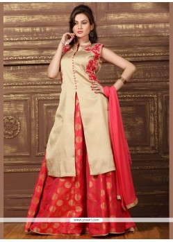 Prepossessing Resham Work Beige And Hot Pink Brocade Lehenga Choli